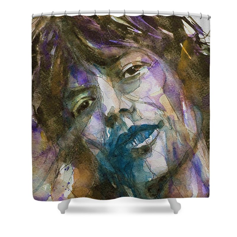 Rolling Stones Shower Curtain featuring the painting Gimme Shelter by Paul Lovering