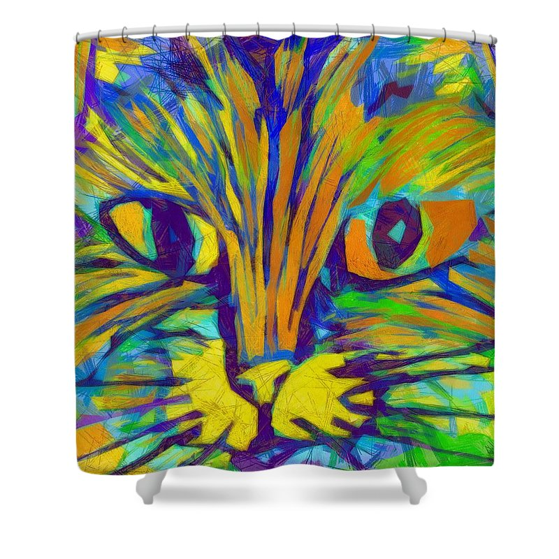 Modern Shower Curtain featuring the digital art Ginger Kitty by Michelle Calkins