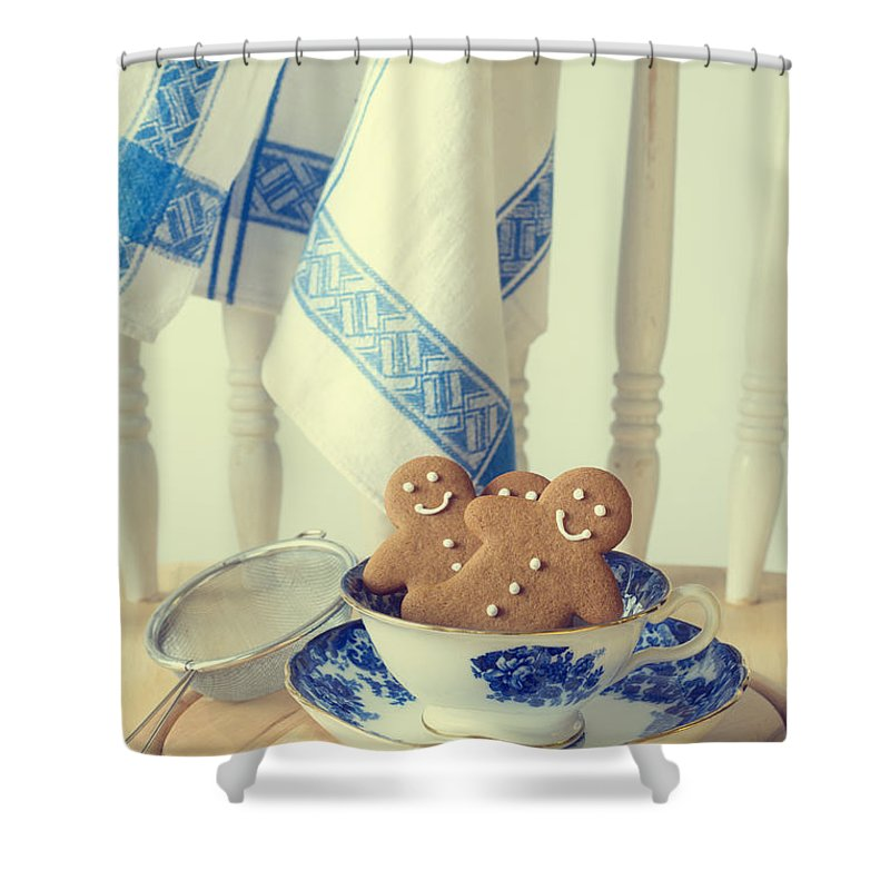 Ginger Shower Curtain Featuring The Photograph Gingerbread By Amanda Elwell
