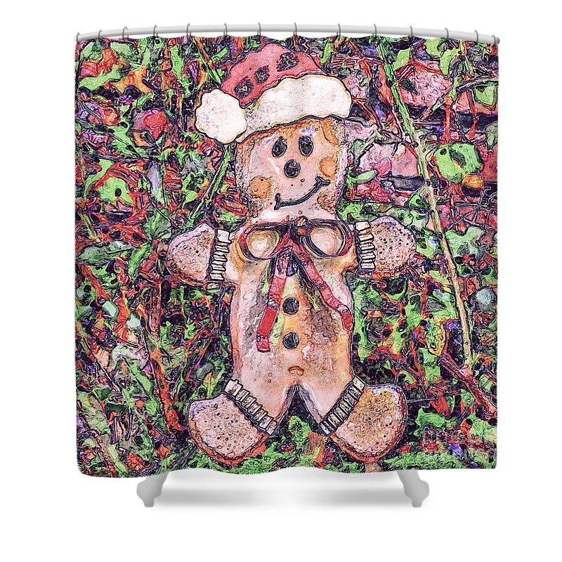 Gingerbread Man Shower Curtain featuring the digital art Gingerbread Fantastico by Davy Cheng