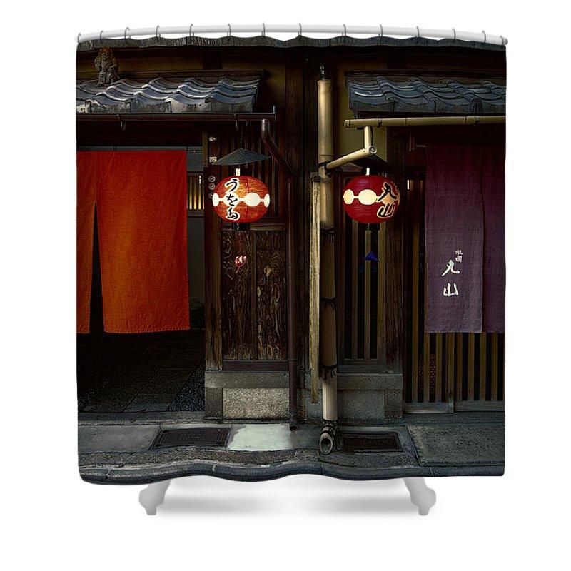 Geisha Shower Curtain featuring the photograph Gion Geisha District Doorways by Daniel Hagerman