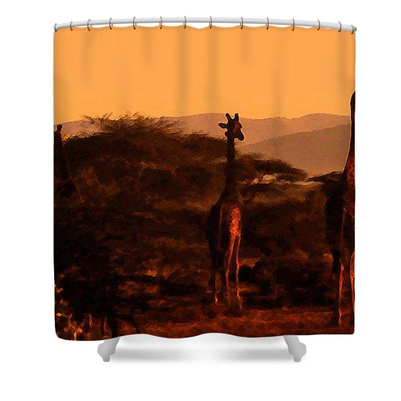 Giraffes At Sundown Shower Curtain featuring the photograph Giraffes At Sundown by Lydia Holly