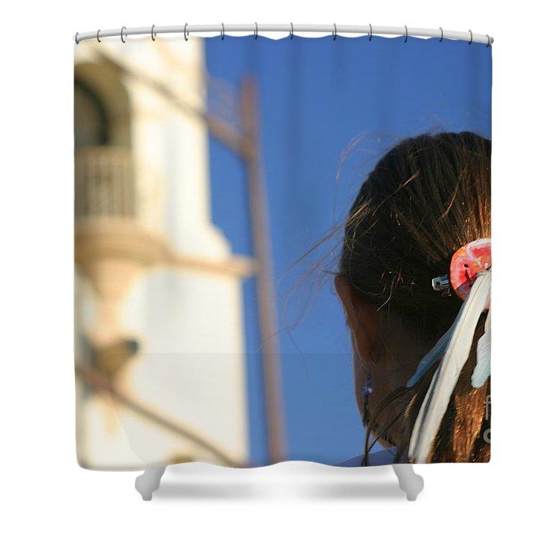 Head Shower Curtain featuring the photograph Girl Feather Headdress by Henrik Lehnerer