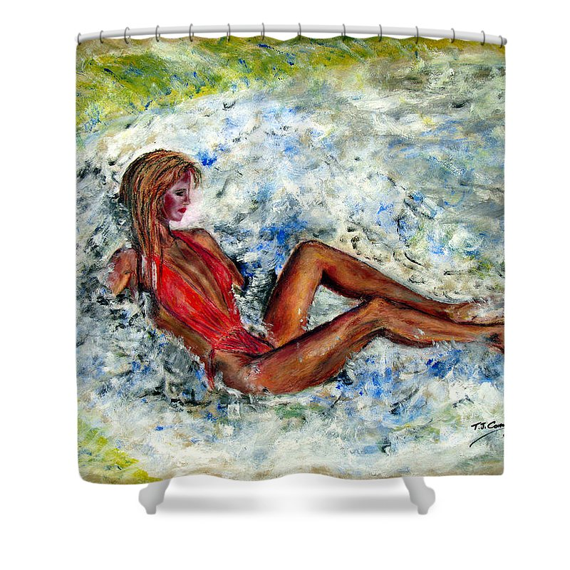 Girl Shower Curtain featuring the painting Girl In A Red Swimsuit by Tom Conway