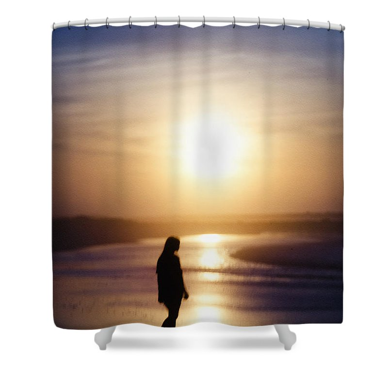 Girl Shower Curtain featuring the photograph Girl On The Beach At Sunrise by Bill Cannon