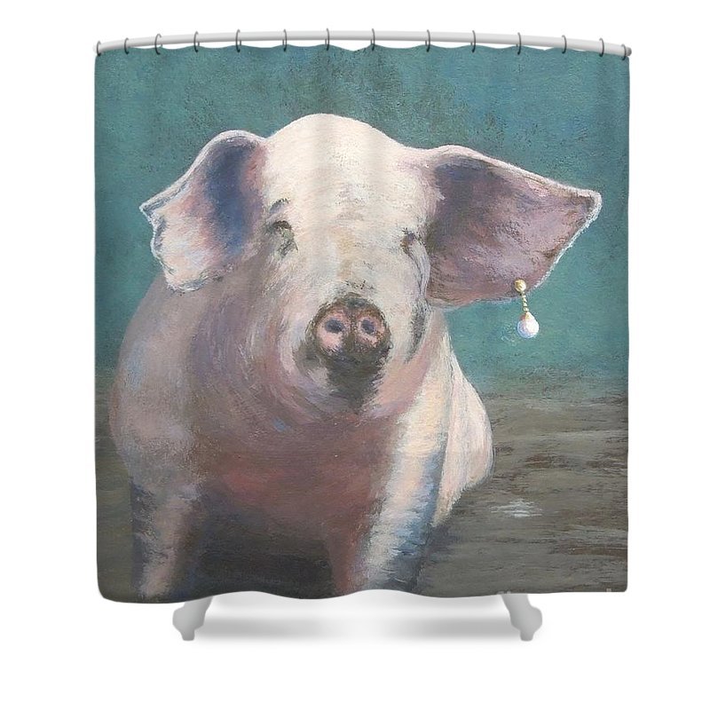 Pig Shower Curtain featuring the painting Girl With A Pearl Earring II by Phyllis Andrews