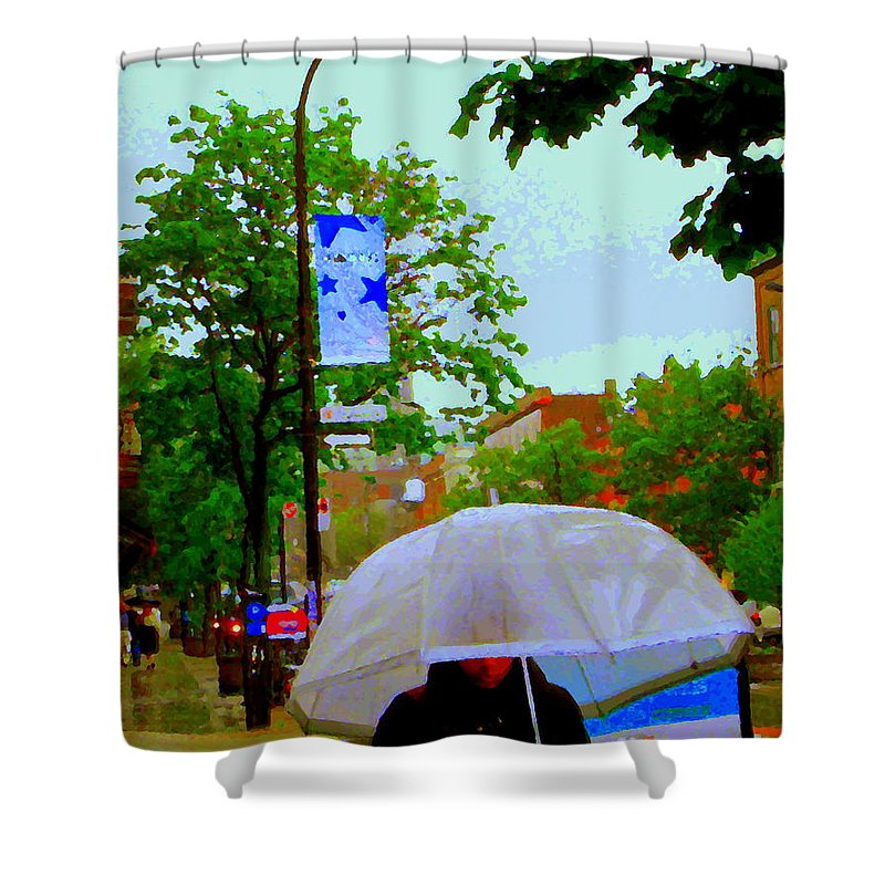 Rain Shower Curtain featuring the painting Girl With Large Umbrella Its Raining Its Pouring April Showers Montreal Scenes Carole Spandau Art by Carole Spandau