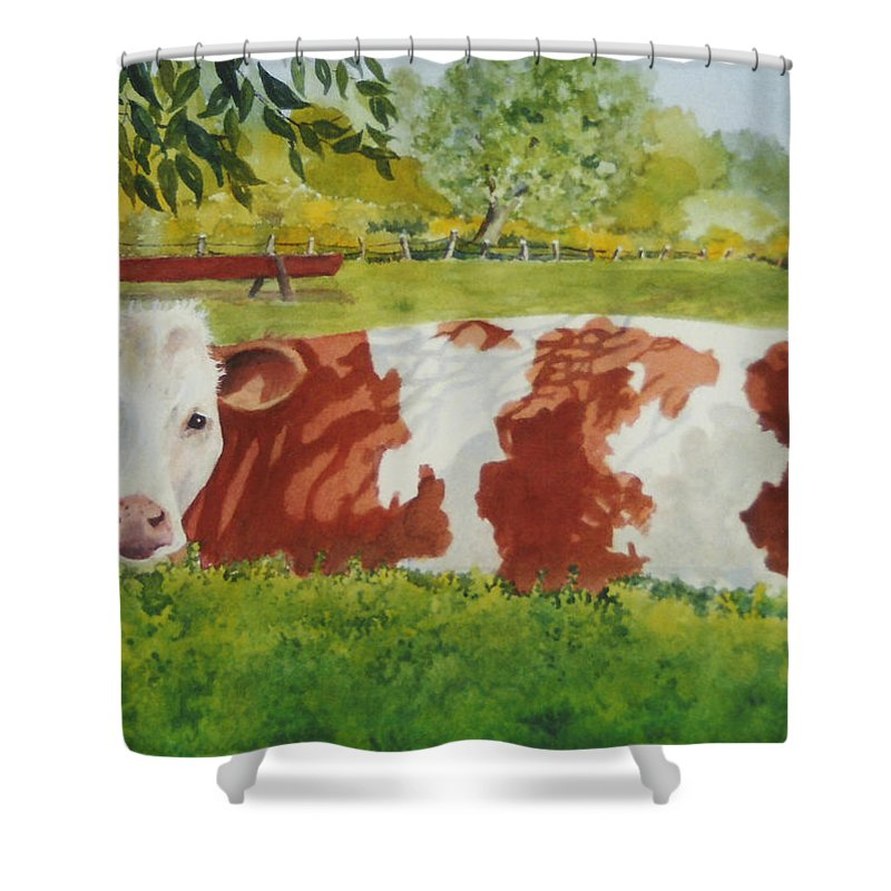 Cows Shower Curtain featuring the painting Give Me Moooore Shade by Mary Ellen Mueller Legault