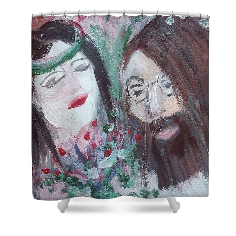 Peace Shower Curtain featuring the painting Give Peace A Chance by Judith Desrosiers