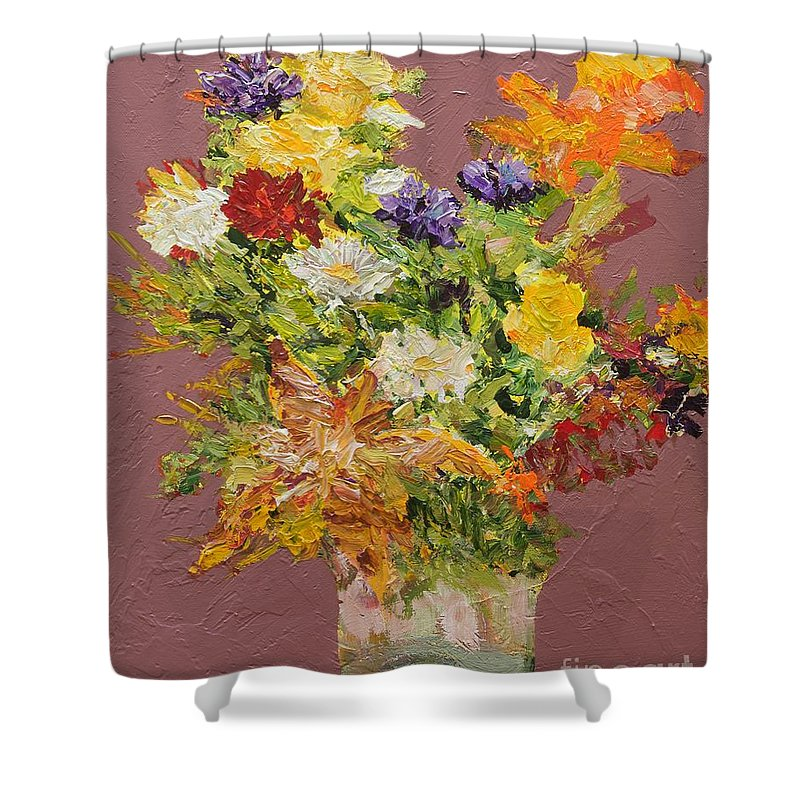 Cut Flowers Shower Curtain featuring the painting Giving Love by Allan P Friedlander