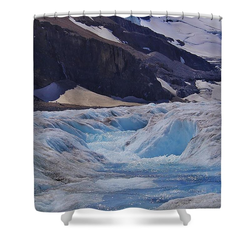 Athabasca Glacier Shower Curtain featuring the photograph Glacial Meltwater 1 by Mo Barton