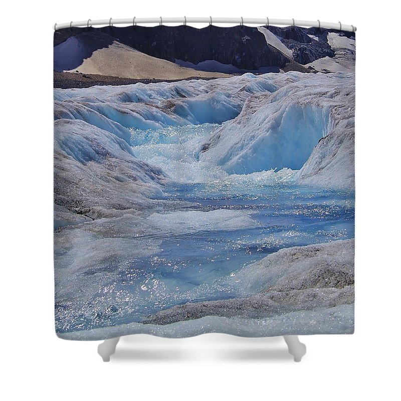 Athabasca Glacier Shower Curtain featuring the photograph Glacial Meltwater 2 by Mo Barton