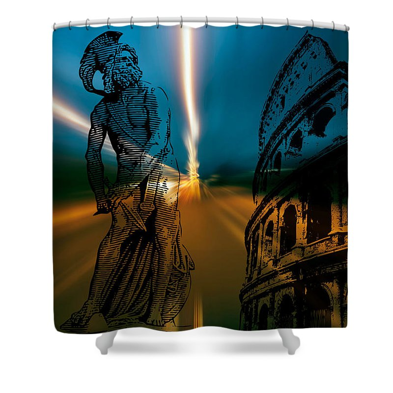 Gladiator Shower Curtain featuring the digital art Gladiator by Michael Damiani