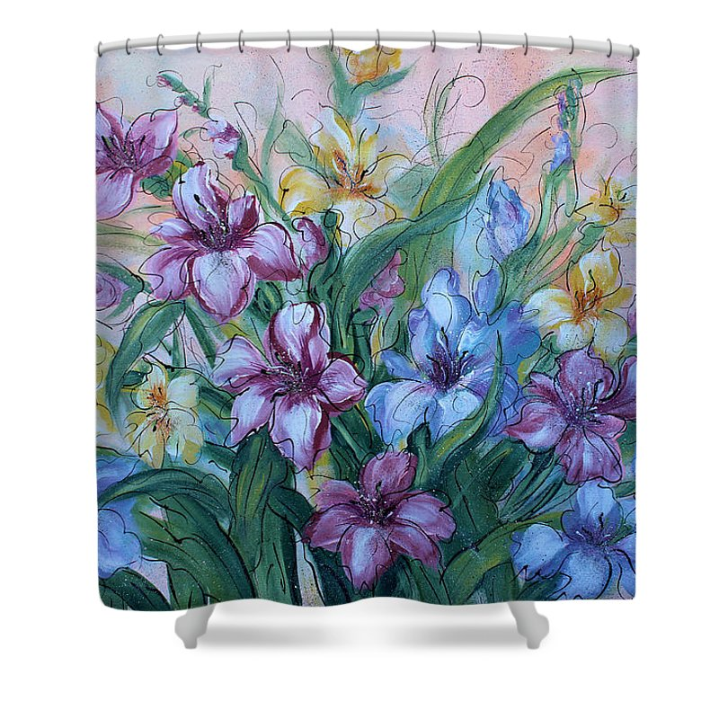 Gladiolus Shower Curtain featuring the painting Gladiolus by Natalie Holland
