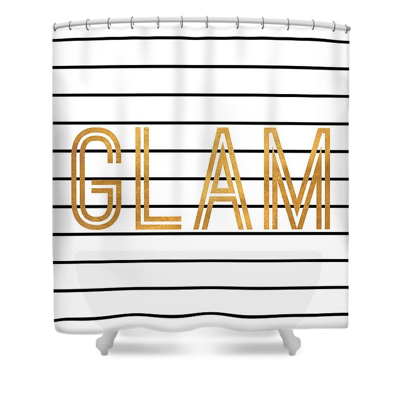 Glam Shower Curtain featuring the digital art Glam Pinstripe Gold by South Social Studio