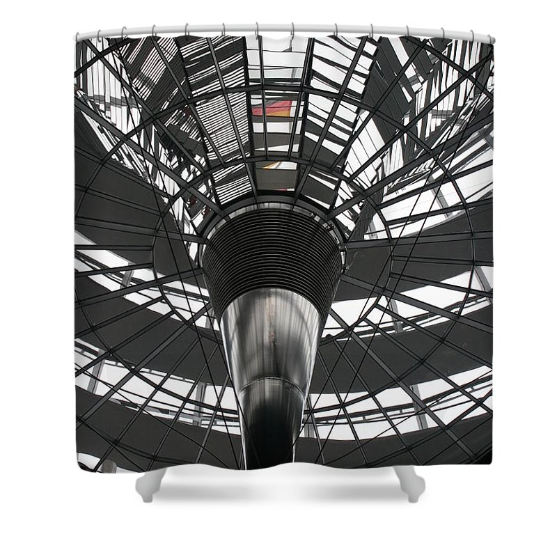 Glass Cupola Shower Curtain featuring the photograph Glass Cupola - Reichstagsbuilding Berlin by Christiane Schulze Art And Photography