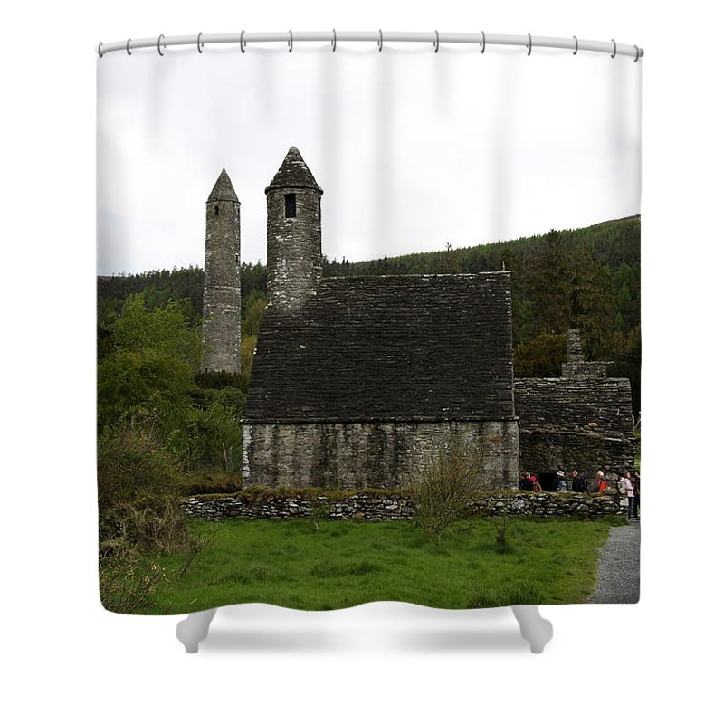 Cloister Shower Curtain featuring the photograph Glendalough Cloister Ruin - Ireland by Christiane Schulze Art And Photography