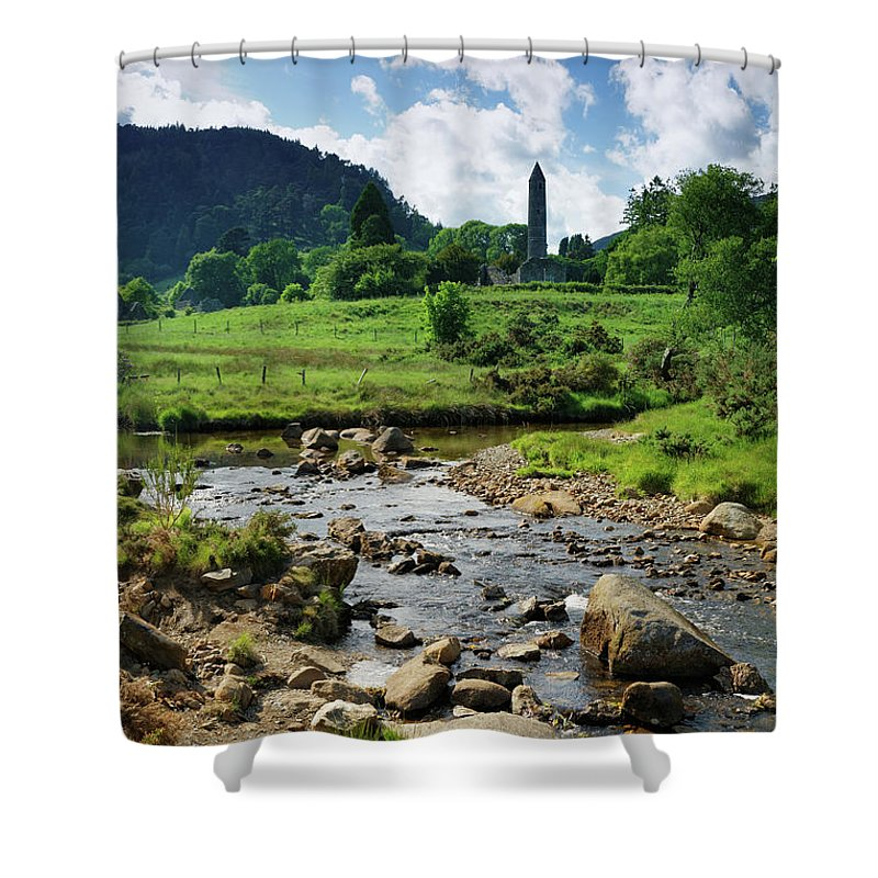 Scenics Shower Curtain featuring the photograph Glendalough Creek With The Old Monastic by Mammuth