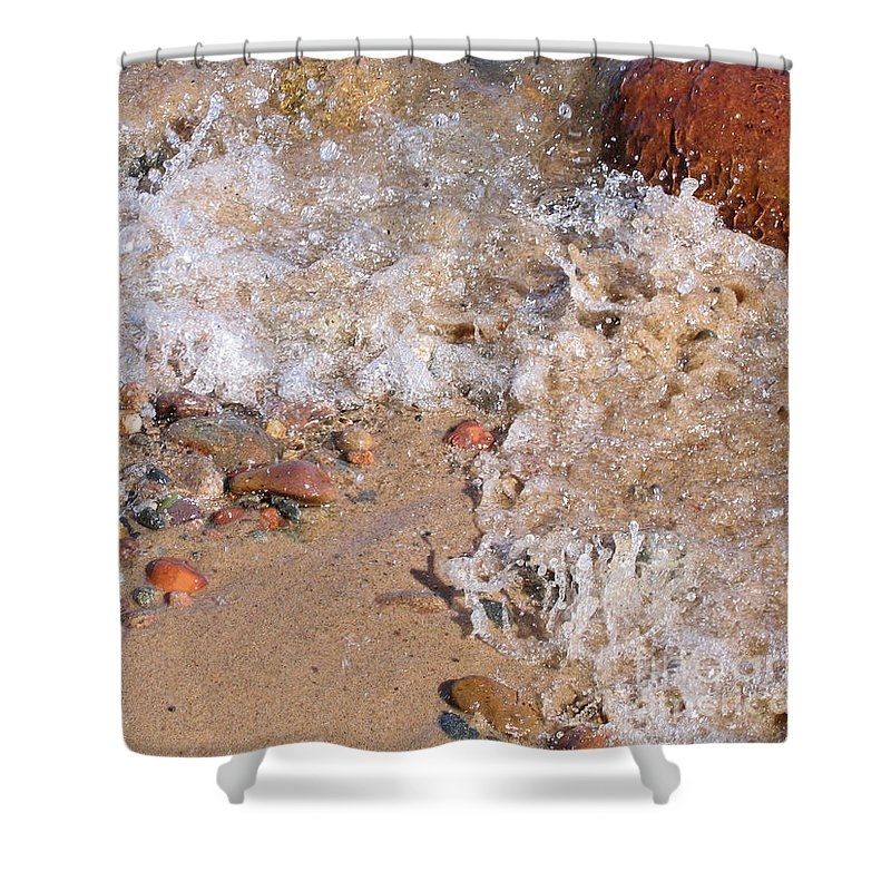 Stones Shower Curtain featuring the photograph Glistening Stones Awash by Ann Horn