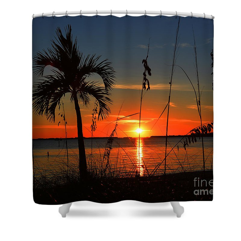 Glowing Cross In The Sunset Shower Curtain featuring the photograph Glowing Cross In The Sunset by Christine Dekkers