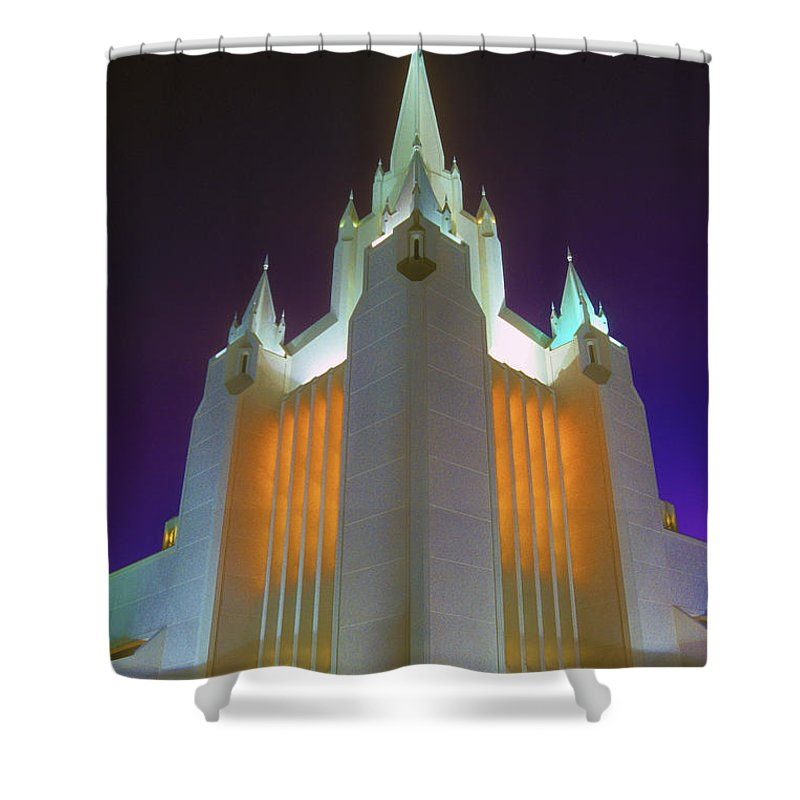 Mormon Shower Curtain featuring the photograph Glowing Temple by Paul W Faust - Impressions of Light