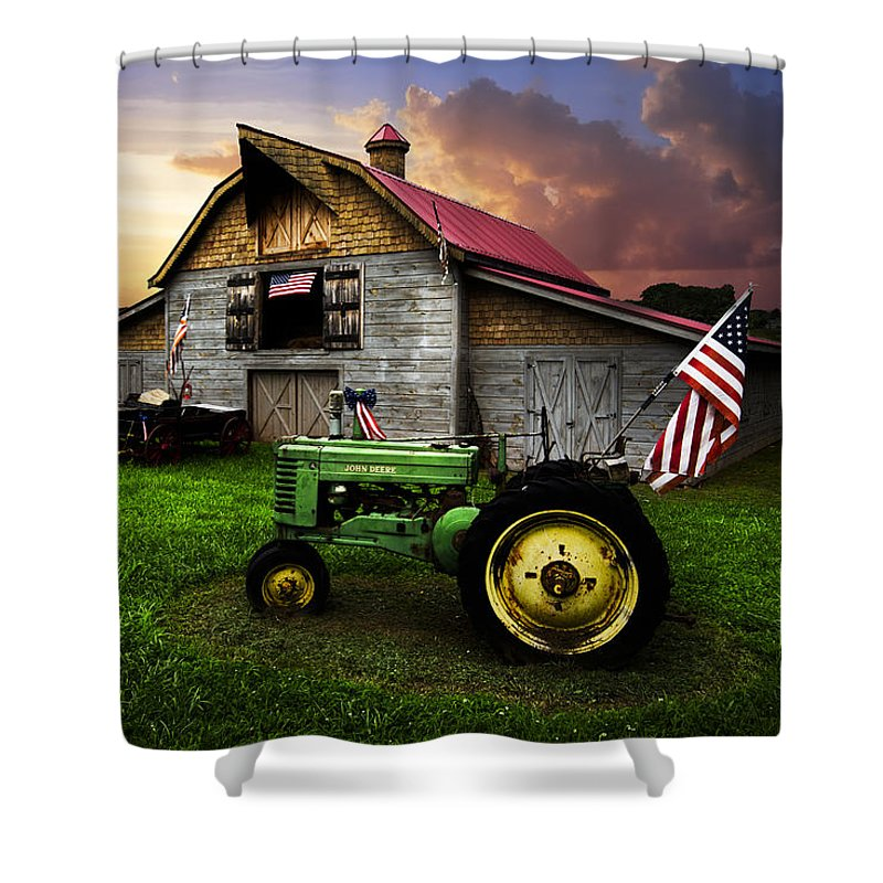 American Shower Curtain featuring the photograph God Bless America by Debra and Dave Vanderlaan