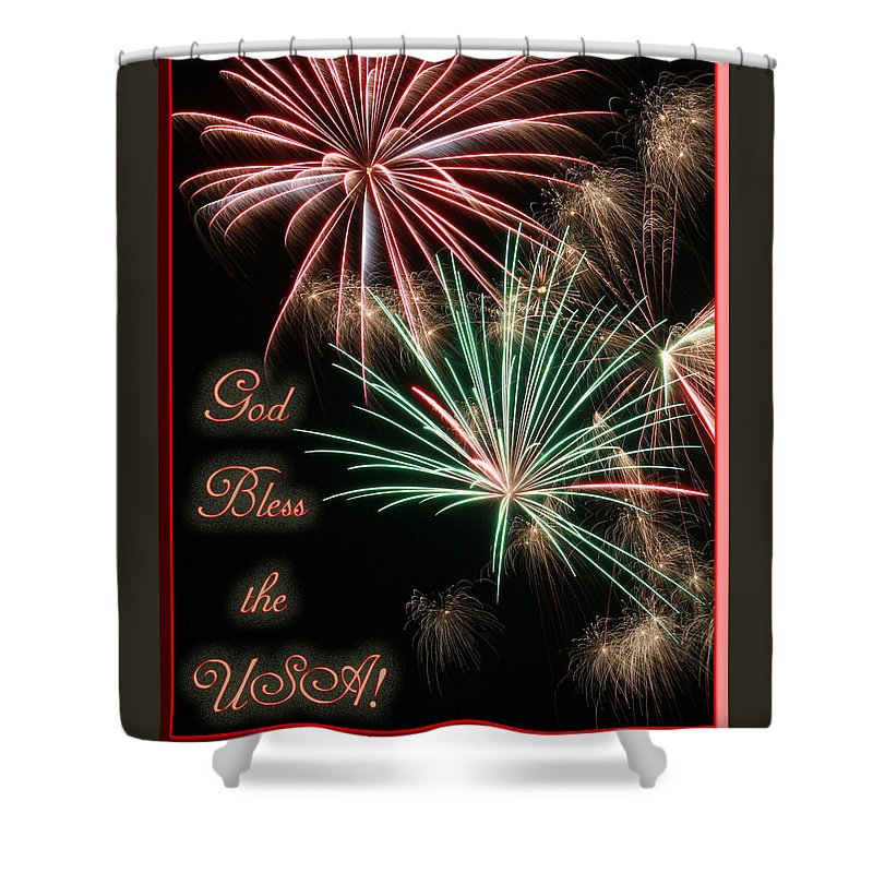 Art Shower Curtain featuring the photograph God Bless The Usa by Southern Arts