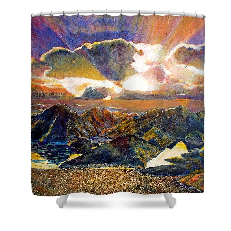Seascape Shower Curtain featuring the painting God Speaking by Michael Durst