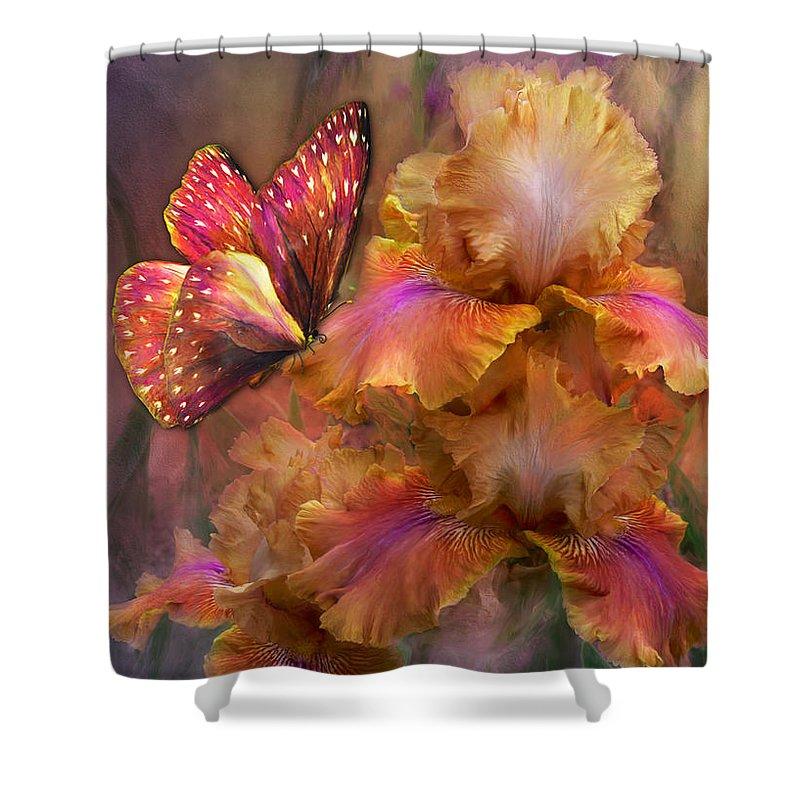 Iris Shower Curtain featuring the mixed media Goddess Of Sunrise by Carol Cavalaris
