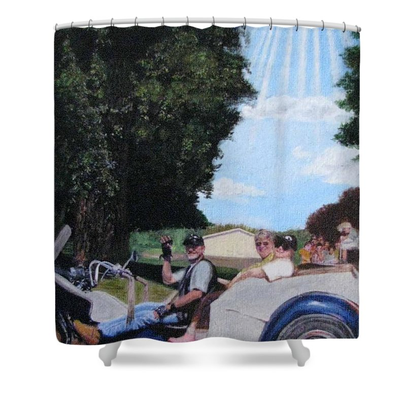 Gods Best Angel Shower Curtain featuring the painting Gods Best Angel by Sherryl Lapping