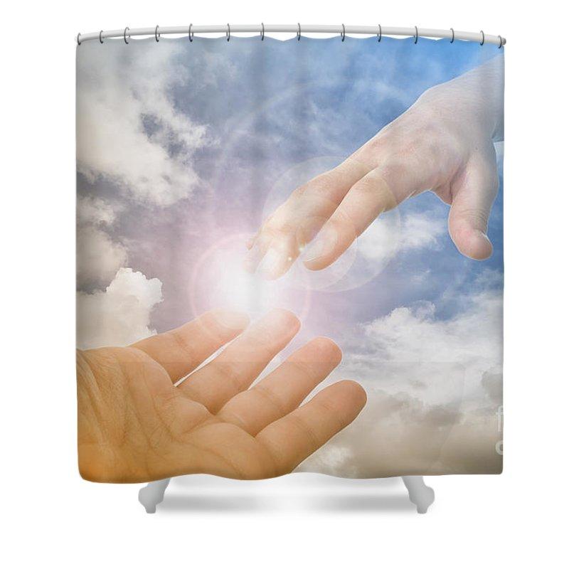 God Shower Curtain featuring the photograph God's Saving Hand by Jose Elias - Sofia Pereira