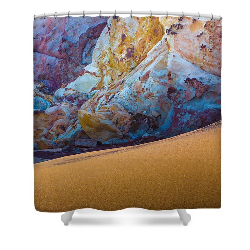 Gold Shower Curtain featuring the photograph Gold And Blue by Edgar Laureano