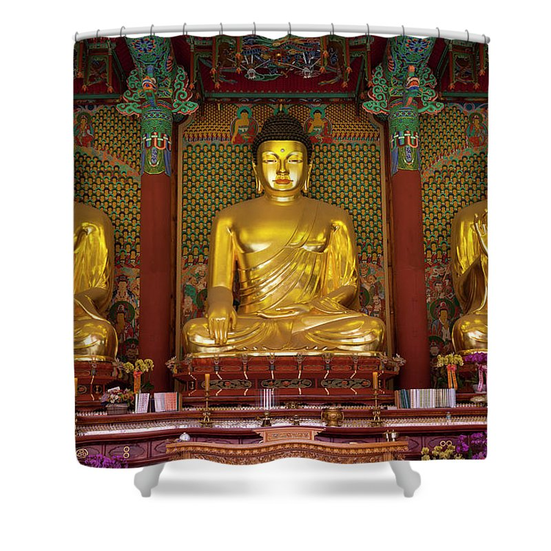 Korea Shower Curtain featuring the photograph Gold Budha Statues Seoul, South Korea by Holgs