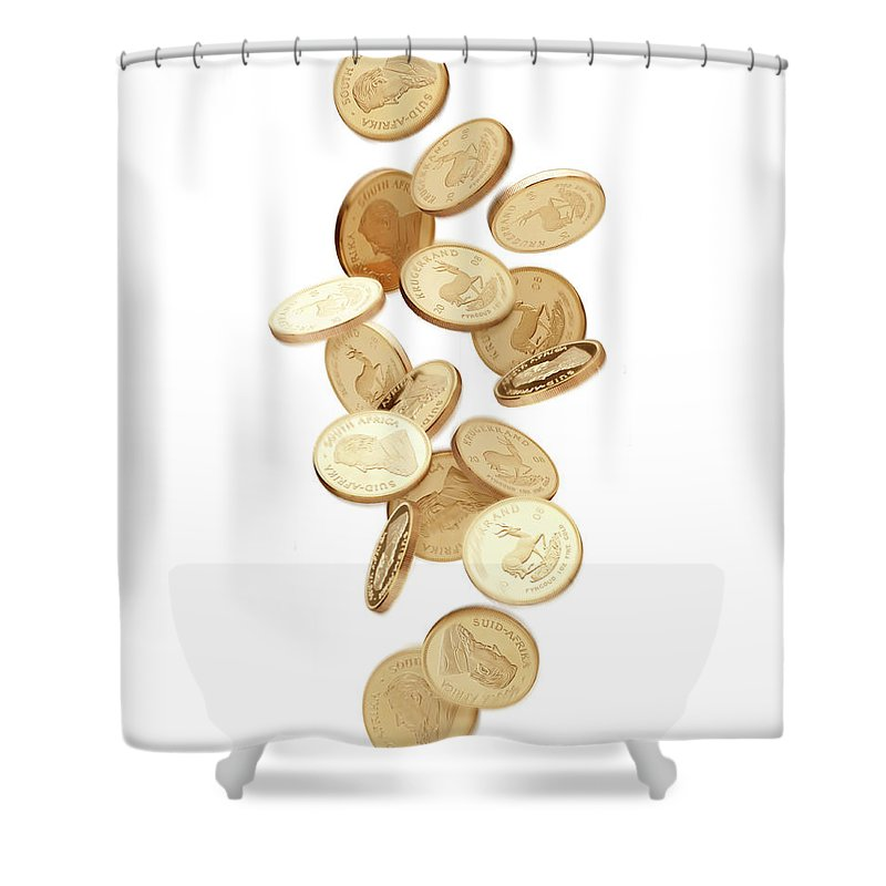 Coin Shower Curtain featuring the photograph Gold Coins Falling From Above by Anthony Bradshaw