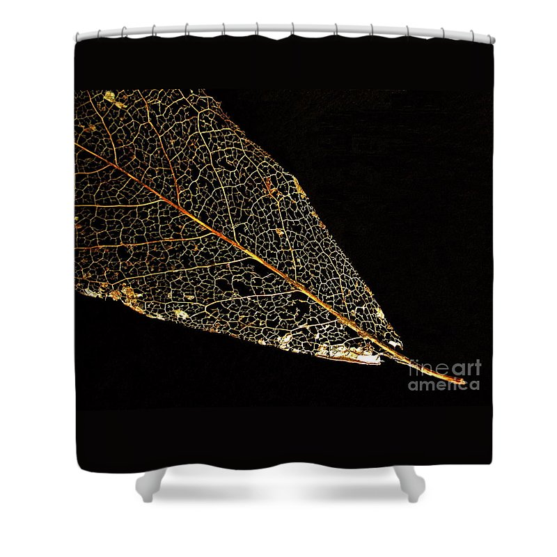 Leaf Shower Curtain featuring the photograph Gold Leaf by Ann Horn