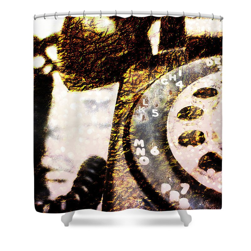 Rotary Shower Curtain featuring the photograph Gold Rotary Phone by Jon Woodhams