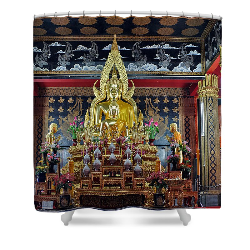 3scape Shower Curtain featuring the photograph Golden Buddha by Adam Romanowicz