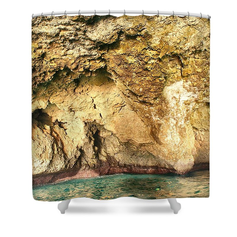 Cave Shower Curtain featuring the photograph Golden Cave by Debbie Levene