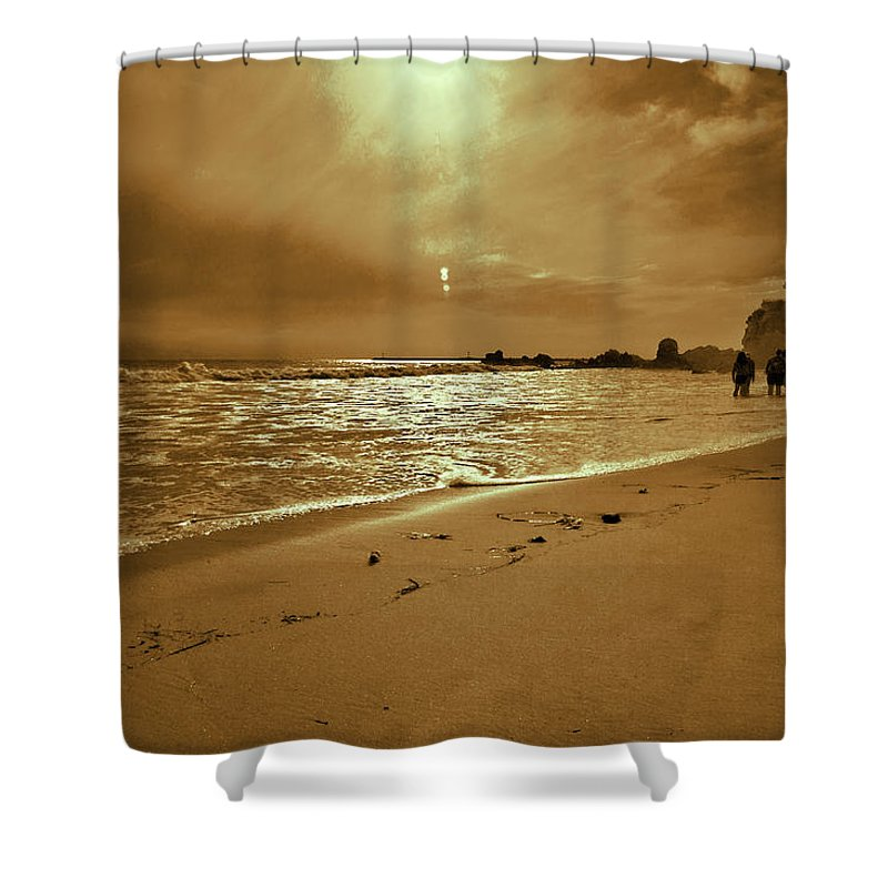 Coast Shower Curtain featuring the photograph Golden Coast Sunset by Angela Stanton