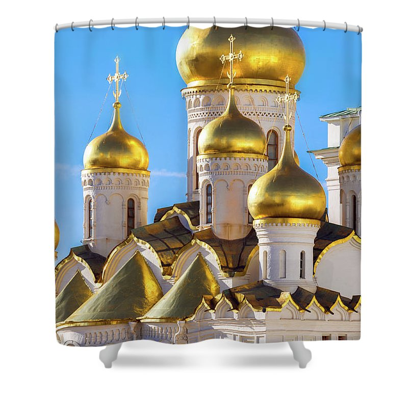 Annunciation Shower Curtain featuring the photograph Golden Domes Of The Russian Church by Mordolff
