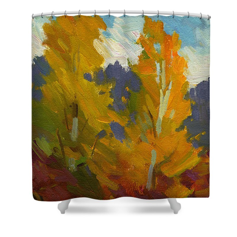 Golden Shower Curtain featuring the painting Golden Fall by Diane McClary