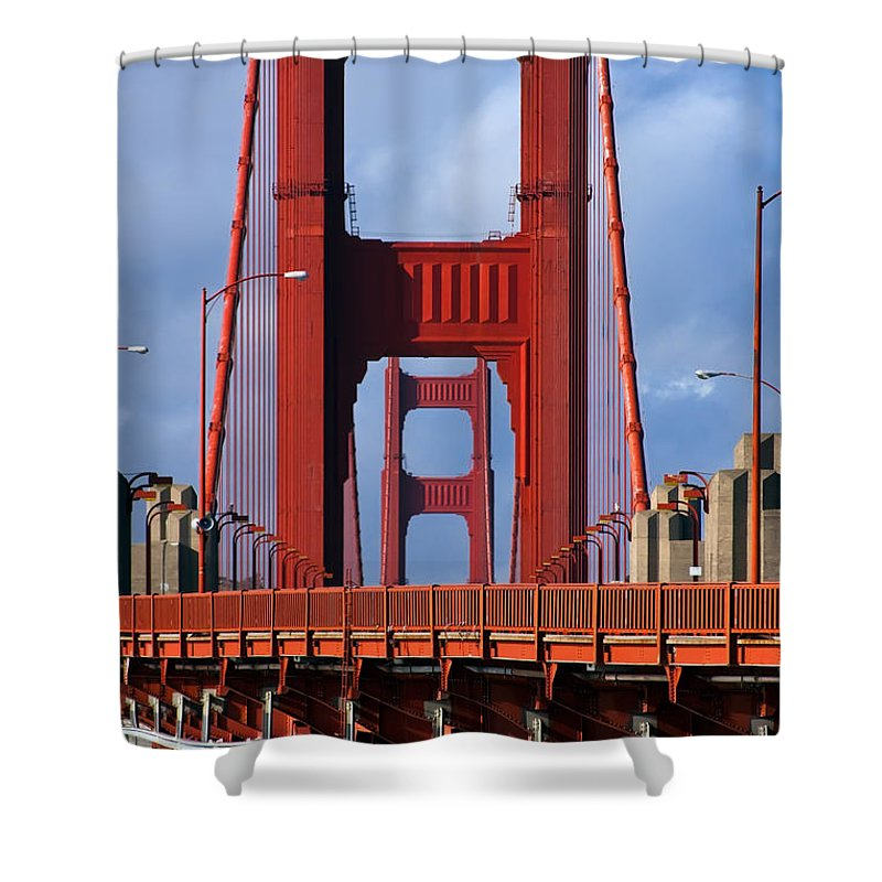 3scape Shower Curtain featuring the photograph Golden Gate Bridge by Adam Romanowicz