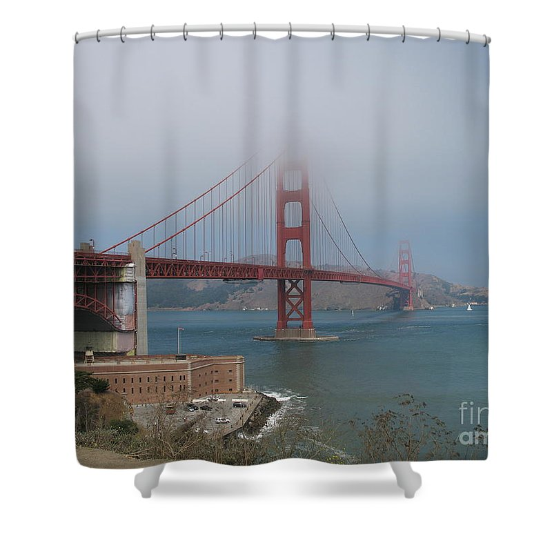 San Francisco Shower Curtain featuring the photograph Golden Gate Bridge And Fort Point by Christiane Schulze Art And Photography