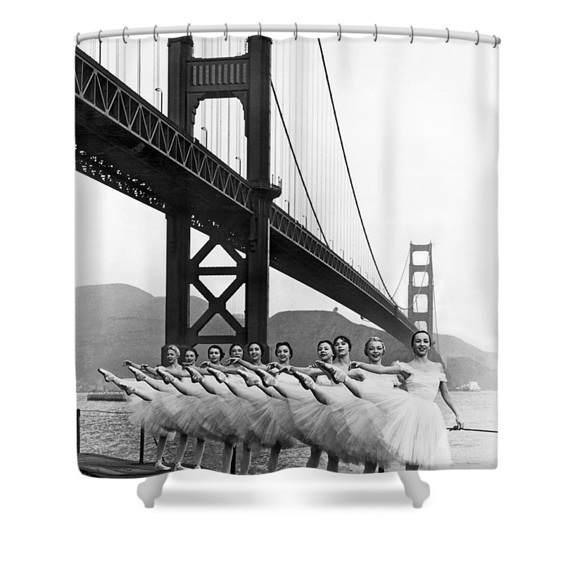 B And W Shower Curtain featuring the photograph Golden Gate Bridge Ballet by Underwood Archives
