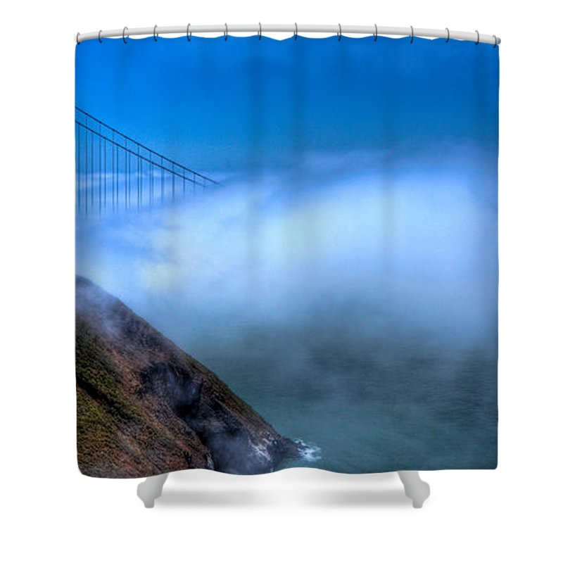 Golden Gate Bridge Shower Curtain featuring the photograph Golden Gate Bridge In The Fog by Jonny D