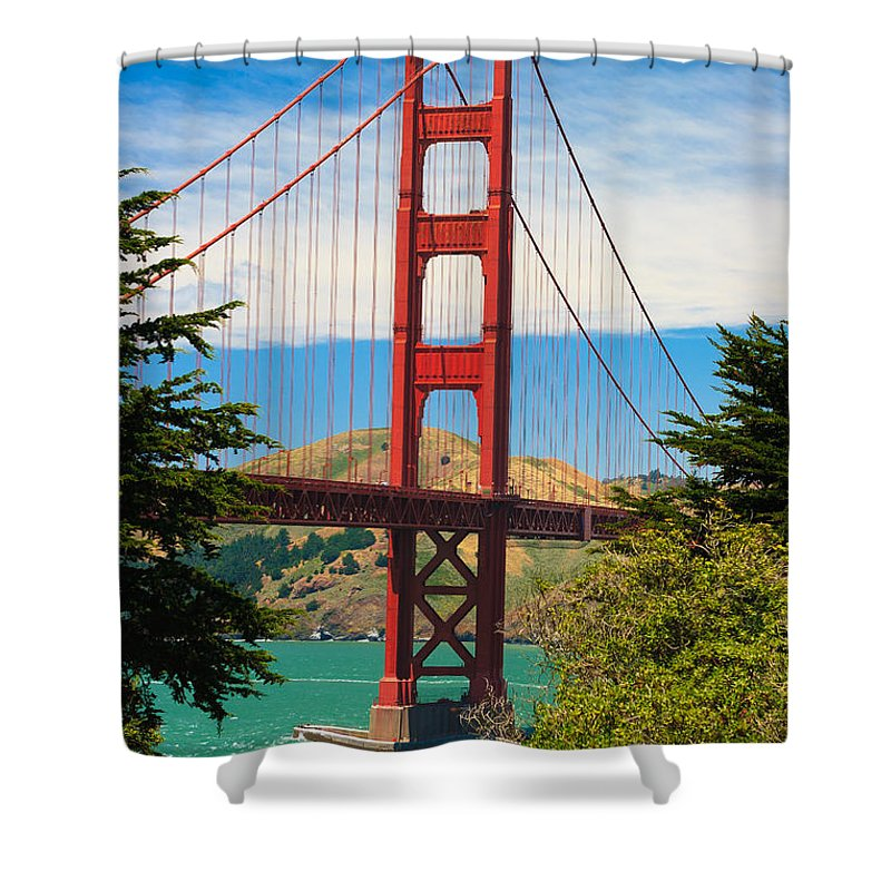 Architecture Shower Curtain featuring the photograph Golden Gate Bridge by Raul Rodriguez