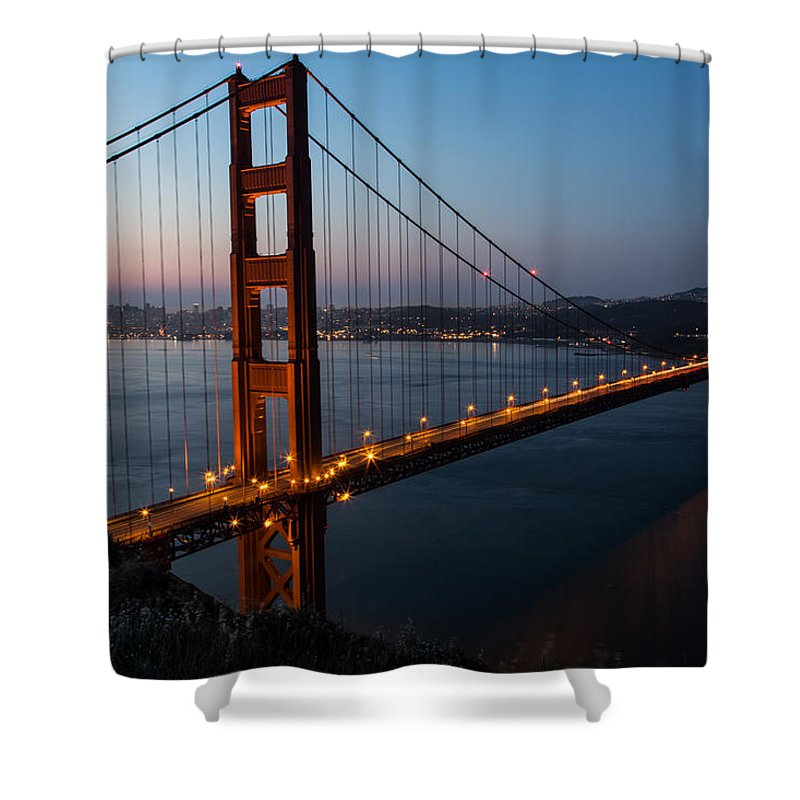 San Francisco Shower Curtain featuring the photograph Golden Gate Sunrise by John Daly