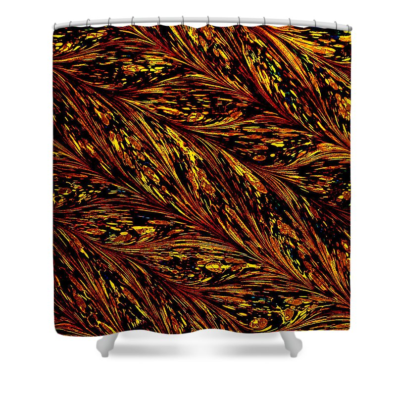 Gold Shower Curtain featuring the digital art Golden Harvest by Del Gaizo