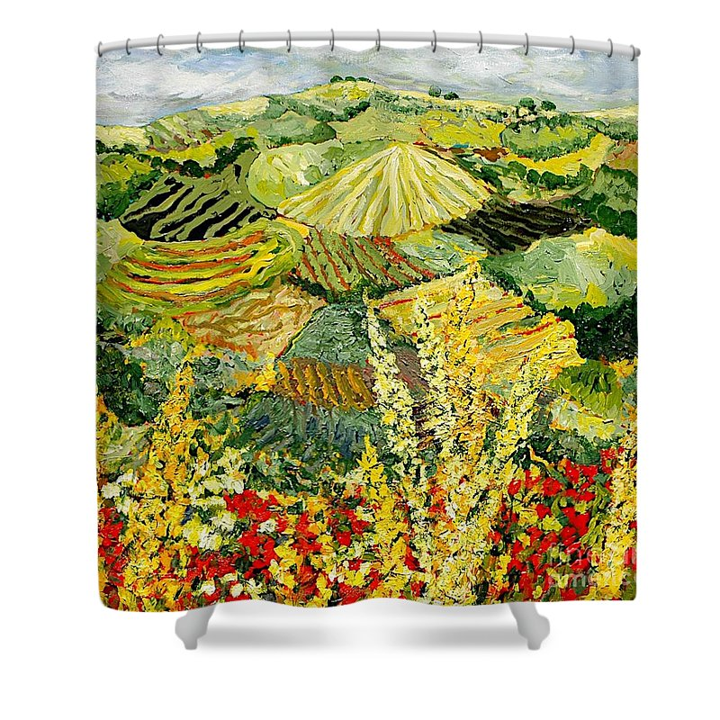 Landscape Shower Curtain featuring the painting Golden Hedge by Allan P Friedlander