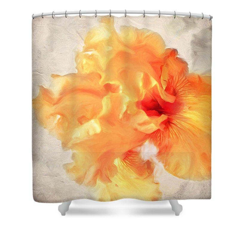 Iris Shower Curtain featuring the photograph Golden Iris 2 by Jai Johnson